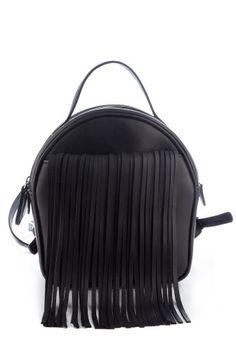 Rucsac negru cu franjuri din piele naturala RNL265-01N -  Ama Fashion