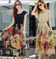 Fashion Floral BOHO Ball Gown Chiffon Summer Beach Short Sleeve Dress #Unbranded #BallGown #SummerBeach