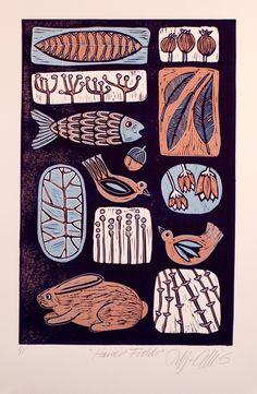 Harvest Fields, a limited edition art linocut print, autumn blue russset by Mariann Johansen-Ellis