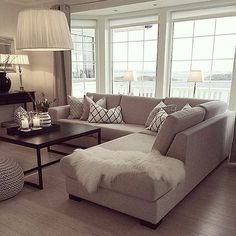 to decorate small living room room ottoman room bench room ottoman room inspiration living room set living room furniture living room Living Room Interior, Home Living Room, Apartment Living, Living Room Designs, Apartment Nursery, Interior Livingroom, Nursery Office, Neutral Living Rooms, Beige Sofa Living Room