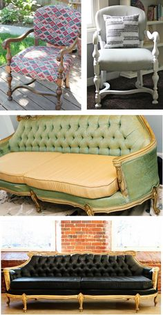 OMG, I am so doing this!!  We have a lot great pieces of furniture, but the fabric is no longer our thing!  This solves everything!!!  Great suggestions and tutorials all over!!  Weekend project here I come!!  My husband is going to die!!