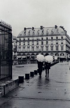 Beautiful black and white and rainy Paris.