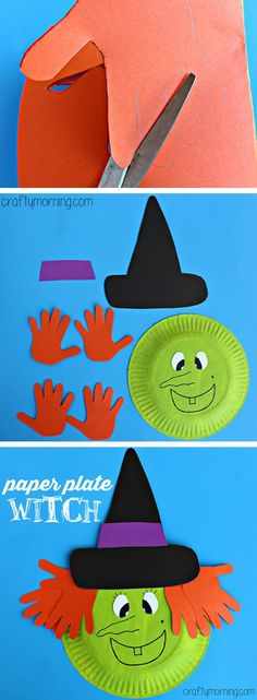 37 Creative Halloween Craft Ideas For Kids Toddlers Free Hand Print Witch Paper Craft Fun Amp Creative Diy Halloween Crafts For Kids Kids Crafts, Daycare Crafts, Classroom Crafts, Toddler Crafts, Kids Diy, Crafty Kids, Decor Crafts, Fall Kid Crafts, Crafts For Babies
