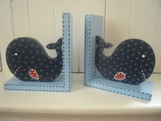 Whale-Custom Hand painted Wooden Book Ends -PB Kids Jackson Bedding-children's bookends. $45.00, via Etsy.