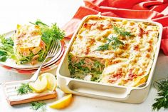 Salmon and pea lasagne main image