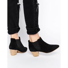 ASOS RAILTON Pointed Suede Western Ankle Boots (125 BGN) ❤ liked on Polyvore featuring shoes, boots, ankle booties, black, ankle boots, black bootie, black cowgirl boots, black ankle booties and short black boots
