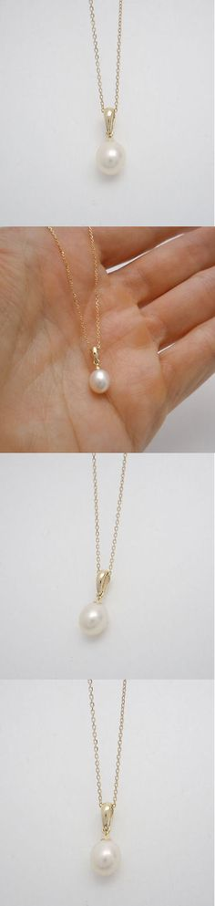 Pearl 164333: 14K Yellow Gold Single Cultured Pearl Dangle Pendant Necklace 16 Chain Genuine BUY IT NOW ONLY: $79.99