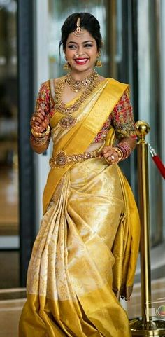 Beautiful Yellow Colored Soft Silk Saree - can find Wedding sarees and more on our website. Wedding Saree Blouse Designs, Half Saree Designs, Pattu Saree Blouse Designs, Saree Blouse Patterns, Wedding Sarees, Bridal Silk Saree, Soft Silk Sarees, Gold Silk Saree, Saris