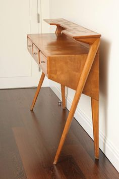Italian Mid-Century Modern Cherrywood Console Table HEIGHT: 40.25 in. (102 cm) WIDTH: 5 ft. 1.5 in. (156 cm) DEPTH: 16.5 in. (42 cm)