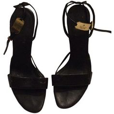 Pre-owned Gucci Strappy Sandals Blac Formal Shoes