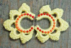 Crochet Lotus Earrings Yellow Crochet Earrings by EarthChildArt
