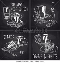 Cute set of coffee and tea cups, croissant and cake on chalkboard background. Hand drawn vector illustration. - stock vector