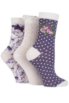 Ladies 3 Pair Totes Laced Pelerine, Floral and Spotty Cotton Socks Ladies Socks, Women Socks, Piggies In A Blanket, Sock Shop, Cotton Socks, Soft Fabrics, Totes, Cute Outfits, Stockings