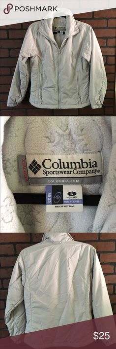 Columbia jacket 🌸 Color is silver grey🌸 material is shell 100% polyester🌸 upper body lining 100% polyester lower 100% nylon🌸 insulation 100% polyester🌸 Columbia Jackets & Coats