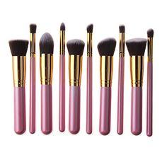 Unimeix 10 Pcs Premium Synthetic Kabuki Makeup Brush Set Cosmetics Foundation Blending Blush Eyeliner Face Powder Brush Makeup Brush Kit (Pink Golden) * For more information, visit image link. (Note:Amazon affiliate link)