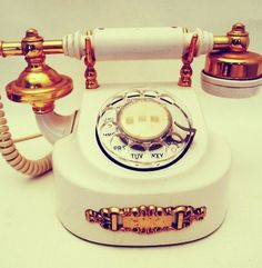 Vintage White and Gold tone Brass Rotary Dial Phone Telephone Victorian Boudoir Princess Hollywood Regency 70's Glam Boudoir Decor