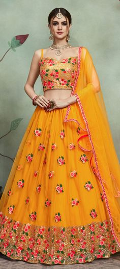 Get Ready For The Upcoming Festive And Wedding Season With This Heavy Designer Lehenga Choli In All Over Musturd Yellow Color. Its Blouse, Lehenga And Dupatta Are Fabricated On Soft Net Beautified With Contrasting Thread Work Giving It An Attractive Look. Orange Lehenga, Floral Lehenga, Half Saree Lehenga, Lehnga Dress, Lehenga Style, Lehenga Blouse, Indian Wedding Lehenga, Indian Lehenga, Lehenga Designs Latest