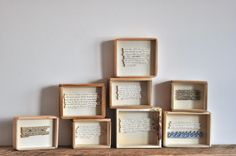 Nice collection of boxed text pieces Home Crafts, Arts And Crafts, Conceptual Drawing, Paper Mache Sculpture, Book Letters, Collage, Book Making, Box Art, Vintage Books