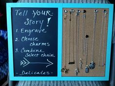 DIY Stella & Dot engravable frame: love this idea for displaying your delicates.
