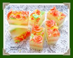 Rose Shimmer Soap Loaf, Sliced Scent: Maple Roasted Southern Peach