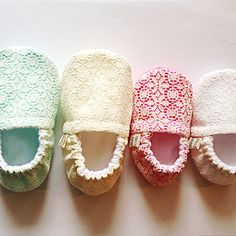 Handmade Lace Booties- More Color Options on Etsy, $25.00 baby moccs baby booties baby moccasins