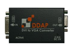 The DDAP video converter transforms your DVI video signal into an analog VGA video signal and gives you the ability to connect a DVI video source to a VGA display monitor. Compatible with resolutions up to 1920 x 1200 @ 60Hz or WUXGA for PCs or 1080p deep color for HDTV. The small form factor lets the video converter unit be placed anywhere to keep your desktop space uncluttered. This unit is perfect for use with newer computer systems and older model displays. - $220.00