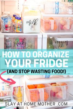 Fridge Organization Ideas + Free Fridge Labels Learn how to clean and organize your fridge and freezer with these fridge organization hacks and ideas! Use the space in your side by side o Freezer Organization, Organizing Hacks, Refrigerator Organization, Kitchen Organization Pantry, Home Organization Hacks, Storage Hacks, Organizing Your Home, Cleaning Hacks, Storage Ideas