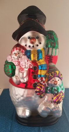 Traditions Glass Snowman/Hand Blown Glass Snowman/Snowman Statue/Tall Glass Snowman/Christmas Snowman/Glass Snowman/Christmas by NatomisTreasures on Etsy Cow Decor, Vintage Holiday, Christmas Snowman, Hand Blown Glass, Snow Globes, Vintage Items, Handmade Gifts, Hand Painted, Traditional