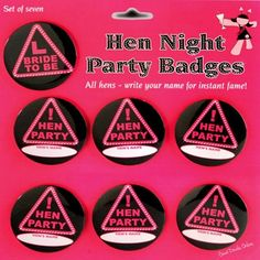 Set of 7 Hen Party Bride To Be Badges Ladies Do Hen Night Bachelorette Party Game Wedding Bridal Shower Favors Gifts DIY Names