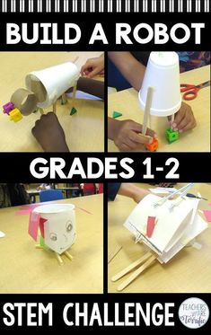 STEM Challenge- Build a robot that has a useful purpose! What could a robot specifically do that would be helpful at your home? Students make the decision and then choose the materials to build a model. Stem Learning, Project Based Learning, Preschool Learning, Teaching, 1st Grade Science, Stem Science, Elementary Science, Stem Projects, Science Projects