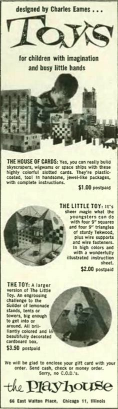 1953 Tigrett Playhouse Advertisement from @thenewyorker for #Eames toys