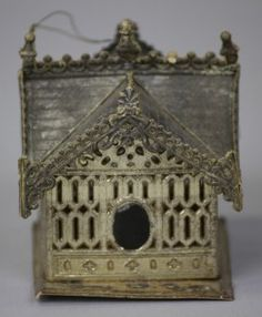 Finely detailed birdhouse ornament with architectural looking Victorian roof design, completed with extensive dormer . on Sep 2012 Victorian Christmas Ornaments, House Ornaments, Paper Ornaments, Old Fashioned Christmas, Christmas Past, Vintage Ornaments, Country Christmas, Christmas Tree Ornaments, Christmas Decorations