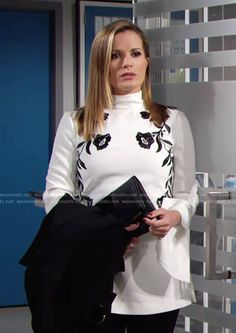 Chelsea's white top with black floral embroidery on The Young and the Restless.  Outfit Details: https://wornontv.net/82099/ #TheYoungandtheRestless
