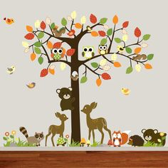 Vinyl Nursery Wall Decal Forest Tree with owls,birds,bears,squirrels,deer
