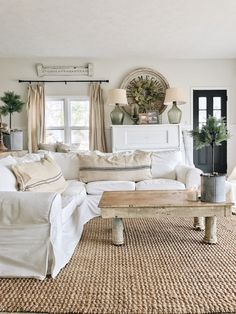 Back Living Room – The Beginning.. Great cottage style and farmhouse style home decor inspiration. Ikea sofa and Ikea sectional