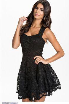 Nouvelles femmes d'été Sexy robe nuit Club Wear noir sans manches en dentelle Backless parti Skater robes 2015 robe De Renda LC21878