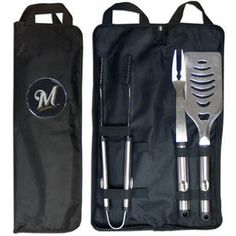 MLB Milwaukee Brewers Stainless Steel BBQ Set with Bag by Siskiyou. $29.99. Our MLB stainless steel 3 pc BBQ tool set includes a large spatula with built in bottle opener, heavy duty tongs, and large fork. All the tools feature a team logo on the handle. The set comes with a durable canvas bag that has a chrome accented team logo.