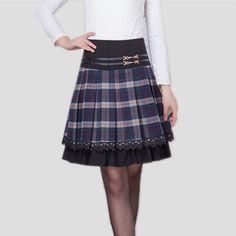Autumn Winter Skirt Women Woolen Skirt Gentlewomen Plus Size Plaid Skirt Medium Long High Waist A-line Skirts Women