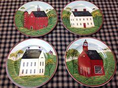 Primitive Folk Art Warren Kimble Country Life Set of 4 Salad Plates #WarrenKimble