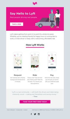 The Lyft Welcome Email is clean, minimal and fun with a nice three columns design showing new users how to use the app and encouraging first rides. See it!