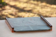 Slate Tray with Oak and Walnut Handles by AnotherChapter on Etsy, $100.00