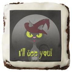 Cat & Witch Affiliate Feline VZS2 Halloween Chocolate Brownie - decor gifts diy home & living cyo giftidea