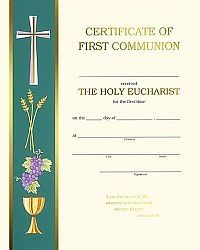 These First Communion certificates work well for both boys and girls and feature a side banner with symbols of Communion. Box of 50 includes envelopes. Certificate Images, Marriage Certificate, Certificate Templates, Catholic Confirmation, Catholic Gifts, First Communion Banner, First Holy Communion, Divine Mercy Image, Baby Book Pages