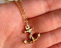 Anchor Pendant with Gold Filled Necklace Anchor Jewelry, Anchor Necklace, Gold Necklace, Boat Wheel, Ship Wheel, Nautical Pendants, Nautical Jewelry, Gold Filled Jewelry, Boating