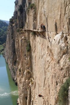Gli spericolati del  Caminito Del Rey  ~No way, no how! There is not one person on the planet that I would trust not to push me off.... Including me just being a klutz and falling :::shudder::: Yep, I would die