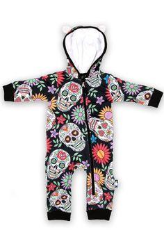 Sugar Skulls Onesie https://www.highvoltageclothing.com  #steampunk #biker #newzealandfashion #alternativeclothing #punk #gothgear #tribal #metal #fashionblogger #heavymetal