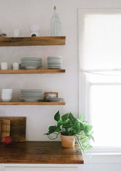 Floating wood Shelves Butcher Blocks is part of Kitchen shelves - Welcome to Office Furniture, in this moment I'm going to teach you about Floating wood Shelves Butcher Blocks Kitchen Shelves, Wood Shelves, Floating Shelves, Cuisines Design, New Kitchen, Kitchen Wood, Interior Inspiration, Design Inspiration, Home Kitchens