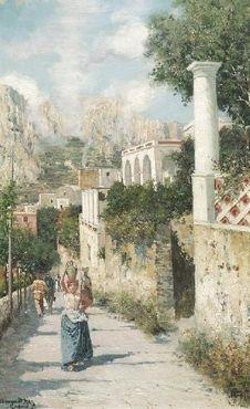 "Bernardo Hay - Bernardo Hay - Capri -. Öl auf Leinwand. 54,5 x 35cm. Rahmen. Schätzpreis: € 2.200 Ergebnis: € 5.000 (231. Auktion ""Alte Kunst"", Los 1412, 01.04.2004)"