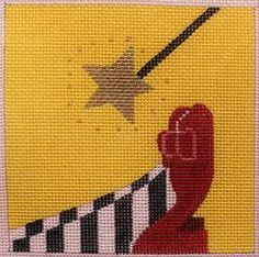 Melissa Prince # Wizard of Oz Movie Coaster 18 mesh 4 x 4 Handpainted Needlepoint Canvas Threads Sold Separately Needlepoint Designs, Needlepoint Kits, Needlepoint Canvases, Wizard Of Oz Movie, Stitch Movie, Easy Canvas Art, Perler Beads, Fuse Beads, Receiving Blankets