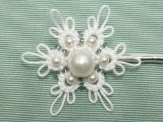 Tatted Snowflake Bobby Hair Pin with glass beads by SnappyTatter